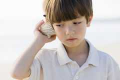 Boy Holding Shell Royalty Free Stock Photo