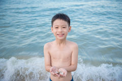 Boy holding shell on the beach Stock Images