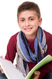 Boy holding a sketchbook Stock Photography