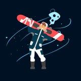 Boy Holding Snowboard. Vector Illustration Stock Images