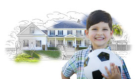 Boy Holding Soccer Ball In Front of House Sketch Photo Royalty Free Stock Photos