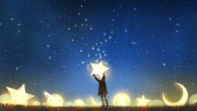 Boy holding the star up in the sky. Beautiful scenery showing the young boy standing among glowing planets and holding the star up in the night sky, digital art vector illustration