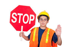 Boy holding stop sign Stock Photo