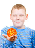Boy holding a sun in the form of a star. On a white background Stock Photography