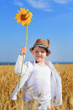 Boy holding a sunflower in the middle of a field Stock Image