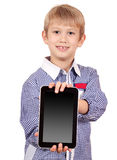 Boy holding tablet pc Stock Photography
