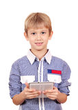 Boy holding tablet pc Royalty Free Stock Images