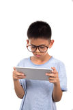 Boy  holding tablet. The Boy  holding tablet. on  White background Royalty Free Stock Image