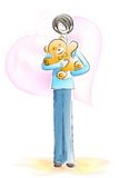 Boy holding Teddy Bear. Easy to edit vector illustration of boy holding teddy bear royalty free illustration