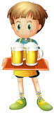 A boy holding a tray of beer Royalty Free Stock Image