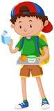 Boy holding tray of food Stock Photo