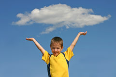 Boy Holding up A Cloud Stock Photos