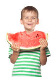 Boy holding a watermelon Royalty Free Stock Photography