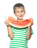 Boy holding a watermelon Stock Images