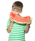 Boy holding a watermelon Stock Photography
