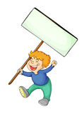 Boy holding white board Royalty Free Stock Photography