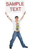 Boy holding white board with text above her head Stock Photography