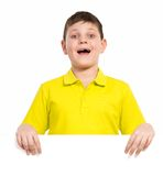 Boy  holding a white placard Royalty Free Stock Photography