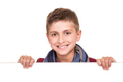 Boy holding a white placard Stock Photography