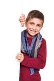 Boy holding a white placard Royalty Free Stock Photo