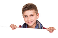Boy holding a white placard Stock Image