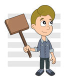 Boy holding a wooden sign Royalty Free Stock Photography