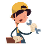 Boy holding working tool  illustration cartoon character Royalty Free Stock Photo