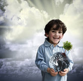 Boy holding world. Young boy holding the globe with a tree on it Royalty Free Stock Photo