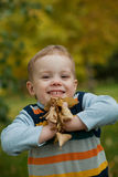 Boy holding a yellow leaves fall Stock Photography