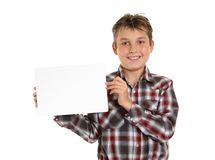 Boy holding your sign award or message Stock Images