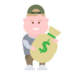 Boy holds a bag of money Stock Image