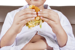 Boy holds a cheeseburger Stock Photography