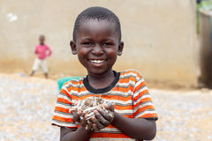 Boy holds fish. A boy holds a handful of fish known as omena around the Lake Victoria region of East Africa Stock Photos