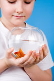 Boy holds a fishbowl with a goldfish Royalty Free Stock Photography