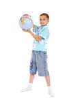 The boy holds the globe Stock Photos