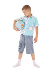 Boy holds the globe in hands Stock Photos