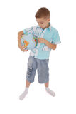 Boy holds the globe in hands Royalty Free Stock Photo