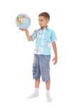 Boy holds the globe in hands Royalty Free Stock Photography