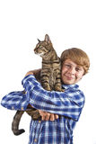 boy holds on hands  a gray cat Stock Photos