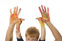 Boy holds the hands of his father Royalty Free Stock Images