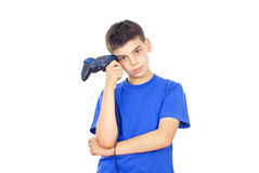 Boy holds the joystick Stock Photos