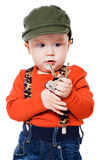 Boy holds the keys to the apartment Stock Photography