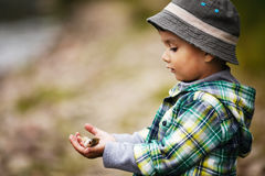 Boy holds a little fish Royalty Free Stock Photography
