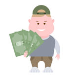 Boy holds money Royalty Free Stock Photography