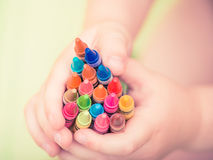 Boy holds pencils Royalty Free Stock Photography