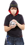 Boy holds shiny ball Royalty Free Stock Photo
