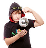 Boy holds shiny ball Royalty Free Stock Photos