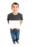Boy holds a sign Stock Photo