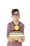 Boy holds stack of books Royalty Free Stock Photography