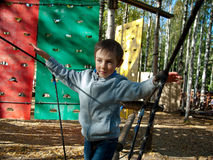 Boy holds on to the ropes. On the forest background Stock Photography